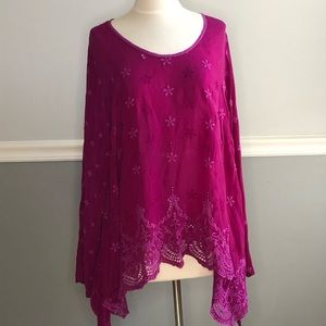 Johnny Was Floral Eyelet Embroidered Tunic Blouse